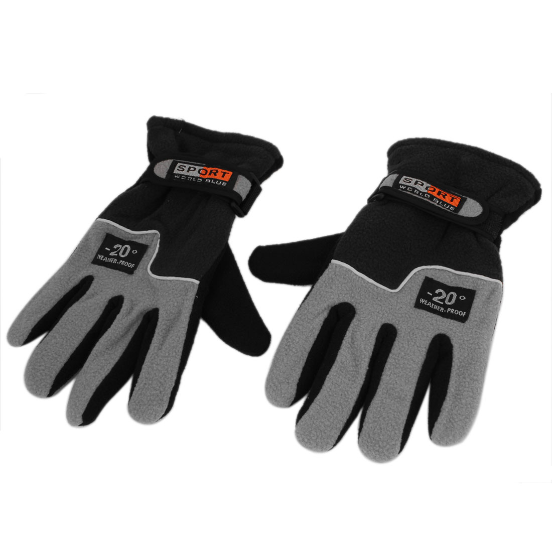 Unisex Winter Wear Cycling Skiing Hiking Fleece Thermal Insulation Gloves Gray Pair