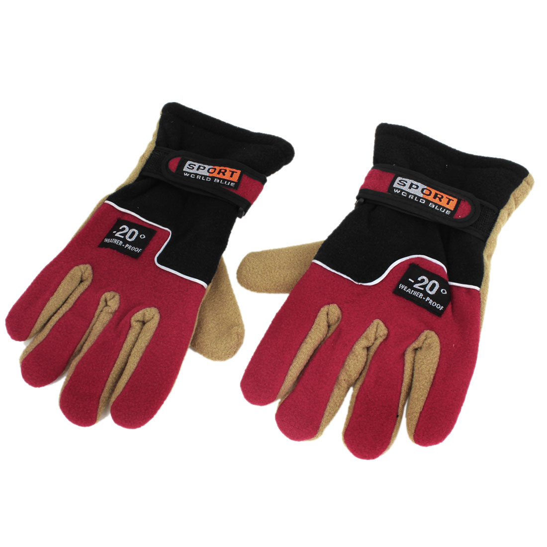 Women Men Winter Sports Cycling Sking Fleece Thermal Insulation Gloves Red Pair