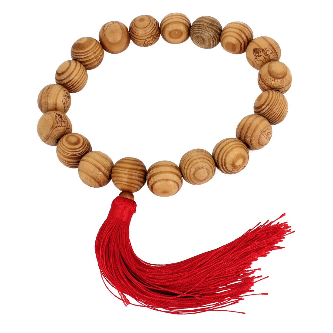 Red Nylon Tassel Detail Wooden Buddha Buddhism Buddhist Bead Bracelet