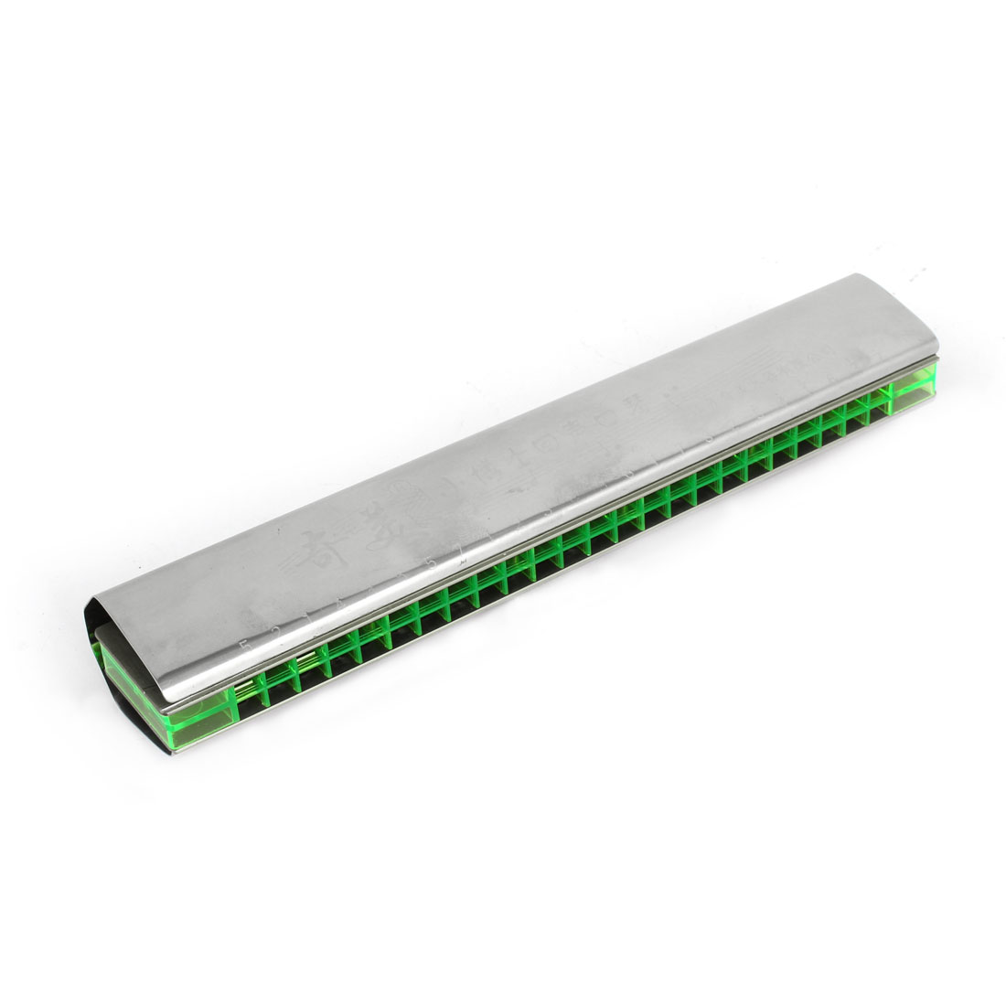 Silver Tone Green Dual Row 48 Holes Metal Frame Harmonica Mouth Organ