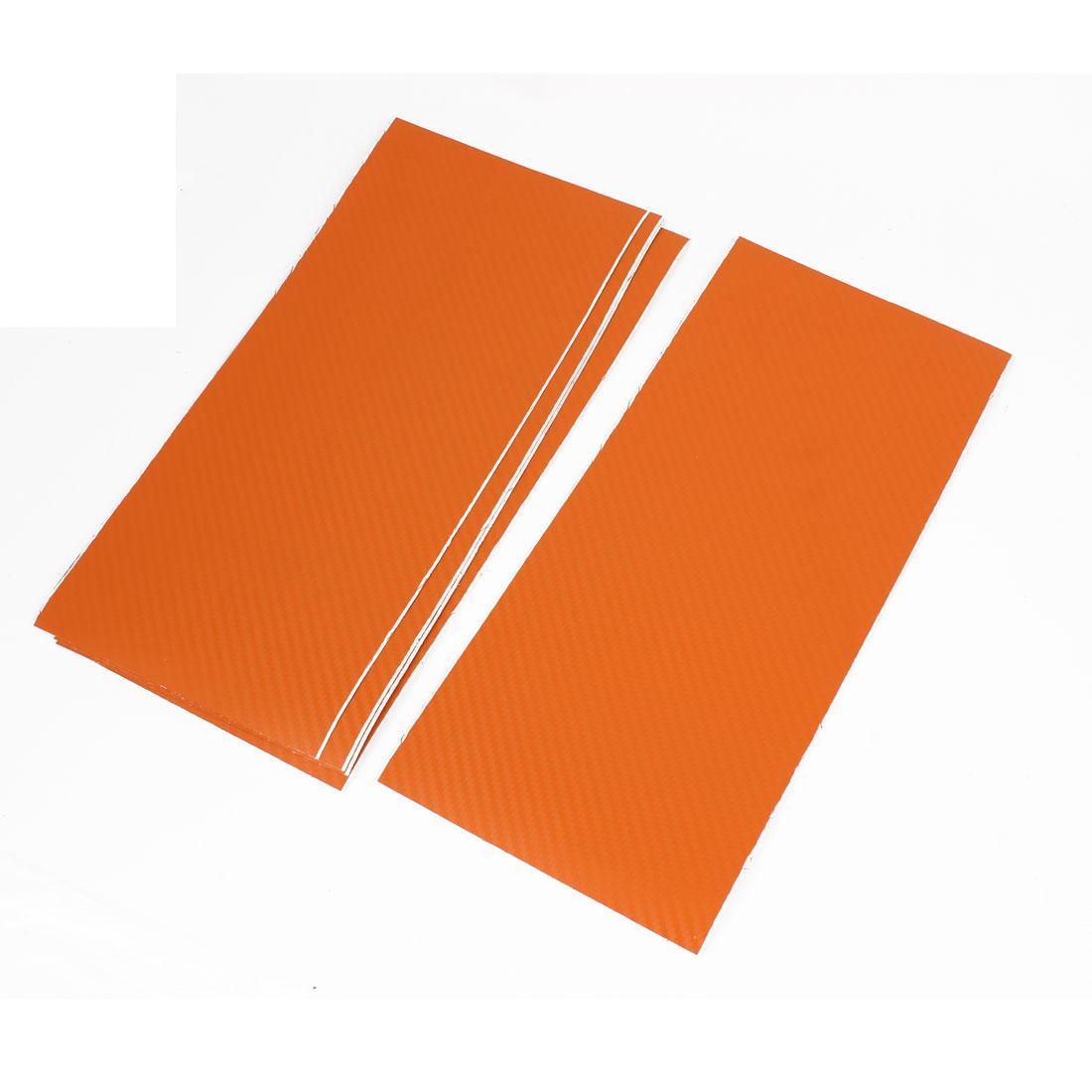 5pcs 300 x 133mm Adhesive Back Carbon Fiber Printed Vinyl Protective Film Sticker Orange for Car