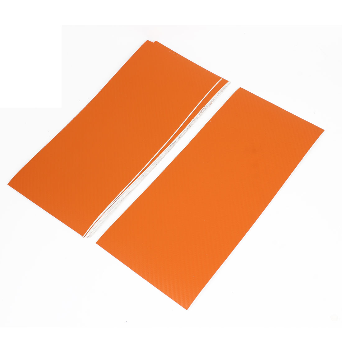 10pcs 300 x 133mm Adhesive Back Carbon Fiber Print Vinyl Protective Film Sticker Orange for Car