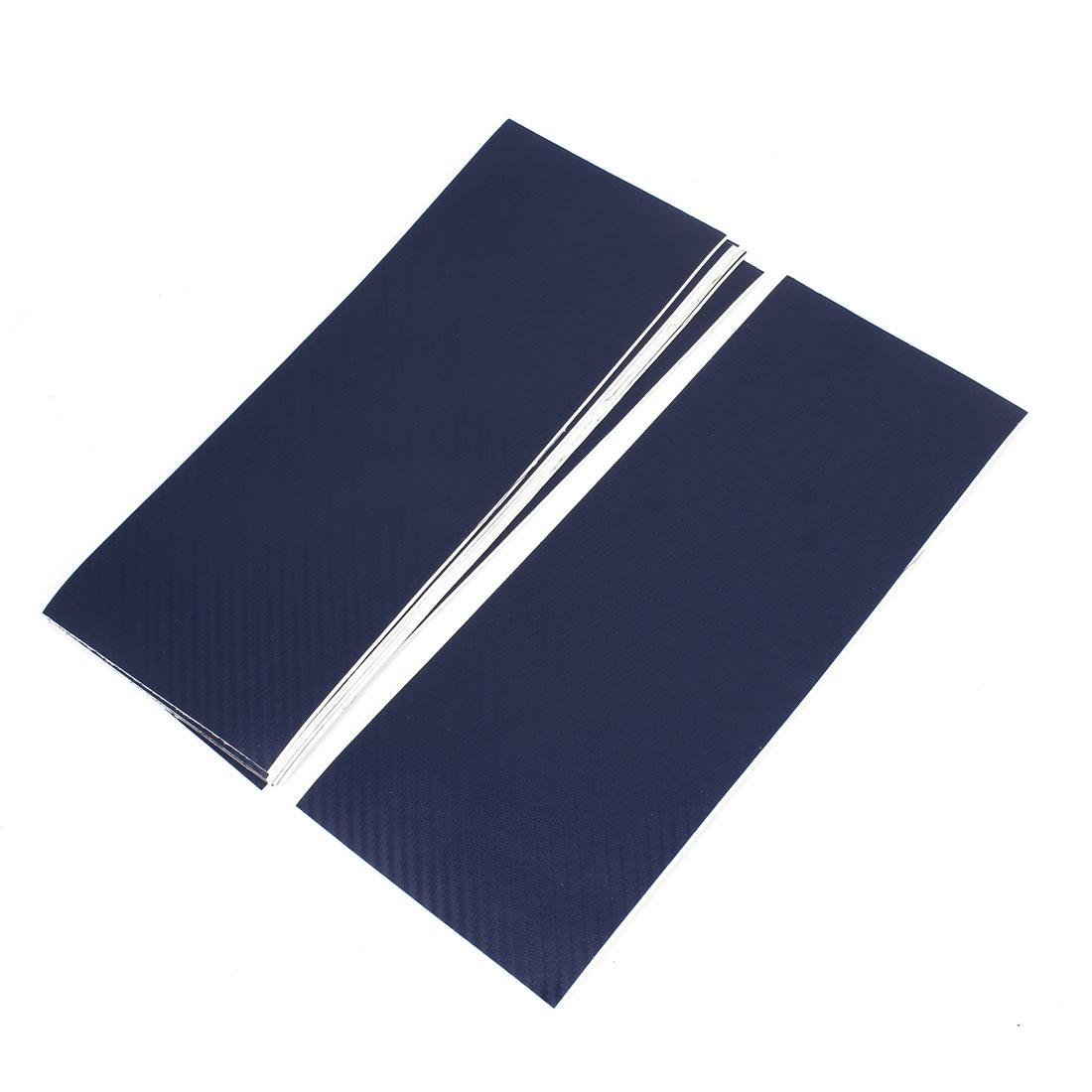 10pcs 300 x 115mm Adhesive Back Carbon Fiber Print Protective Vinyl Film Sticker Dark Blue for Car