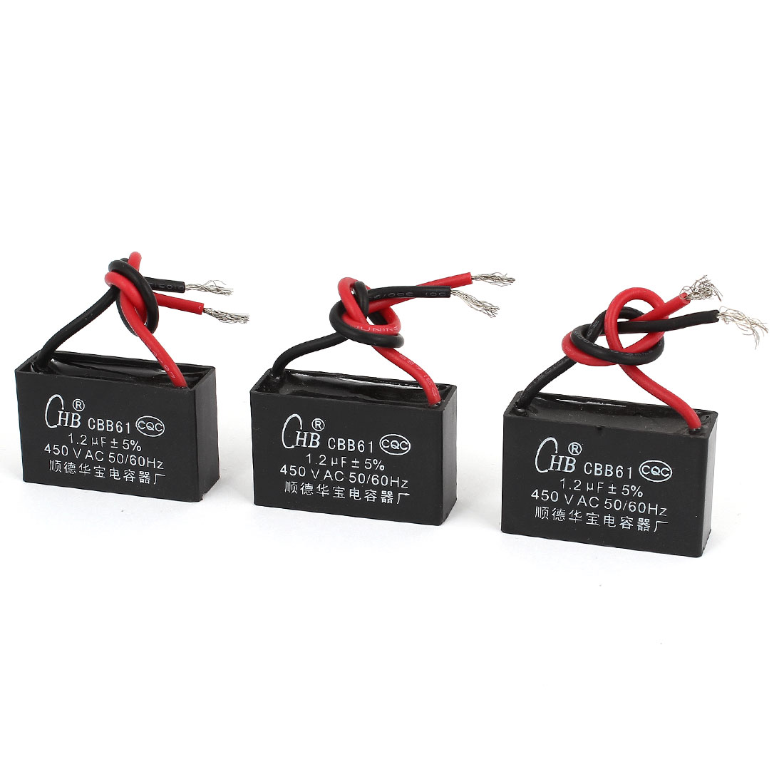 AC 450V 50/60Hz 1.2uF 5% 2 Wired Polypropylene Film Motor Capacitor 3PCS