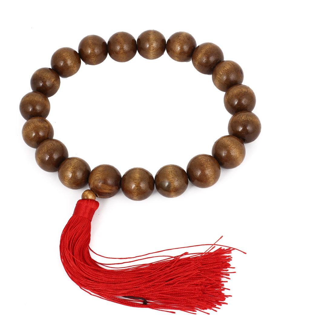 Red Nylon Tassel Detail Coffee Color Wooden Buddha Buddhism Buddhist Bead Bracelet