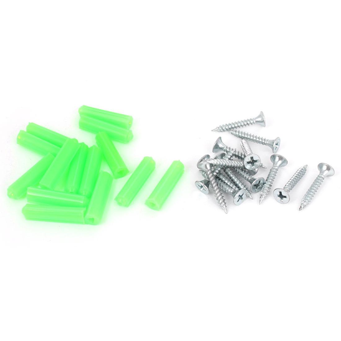 14pcs Metal Masonry Screw Silver Tone + Plastic Wall Expansion Bolt Green 27mm x 7mm