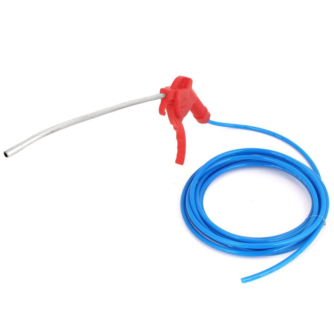 Red Plastic Trigger High Pressure Air Blowing Gun + Blue 4mm Inner Dia Hose Tube 2.2Meters