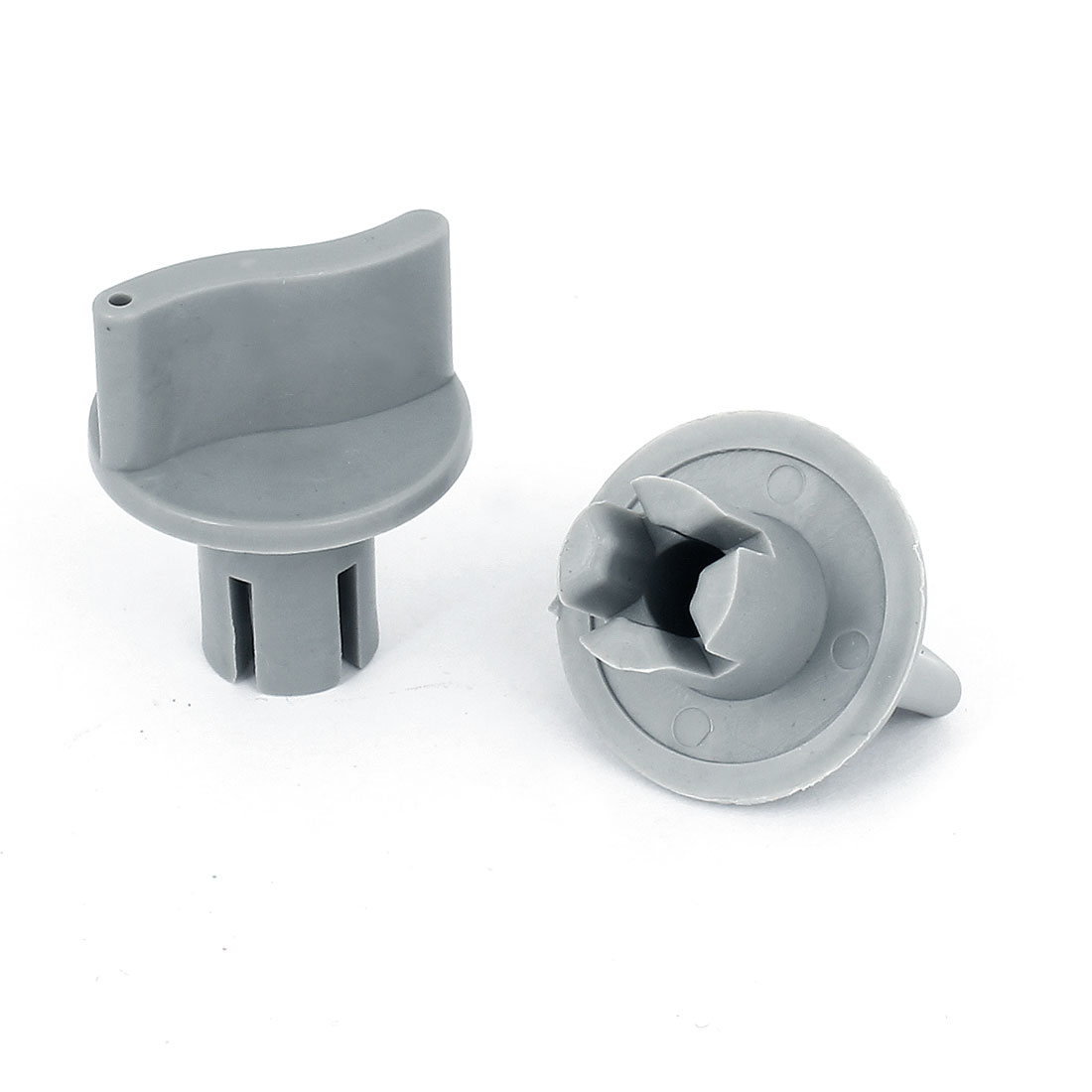 2pcs Gray Plastic Rotatable Knob Grip for Universal Changeover Switch