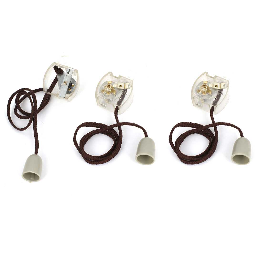 AC 250V 1A Momentary Pulling Cord Plastic Shell Switch Clear 3pcs for Ceiling Fan