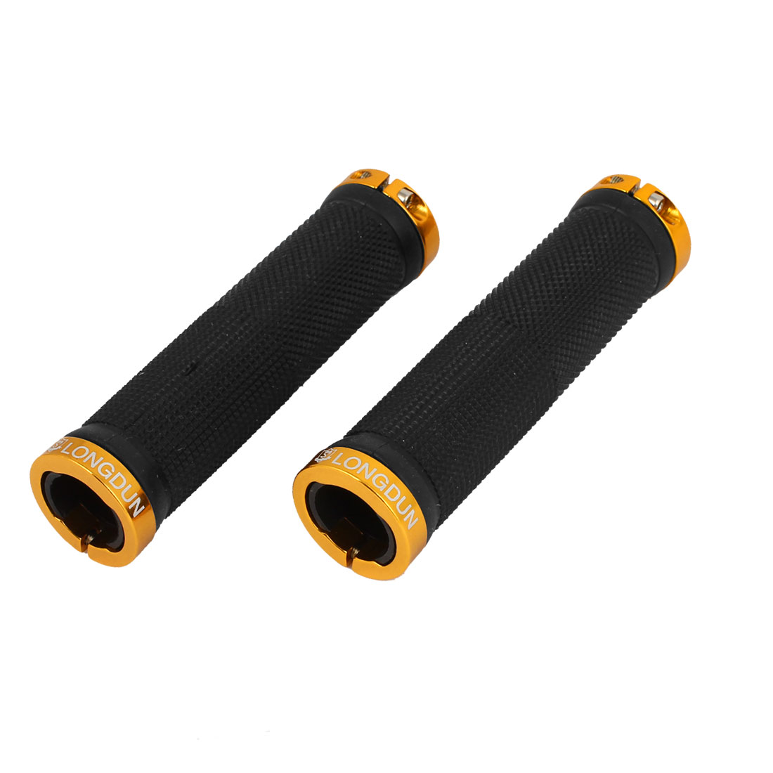 Pair Cycling Mountain Bike Nonslip Lock On Handlebar Grip Cover Black Gold Tone