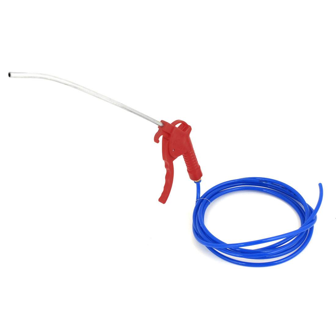 Red Plastic Trigger High Pressure Air Blowing Gun + Blue 4mm Inner Dia Hose Tube 3Meter