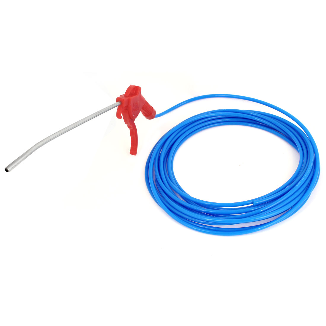 Red Plastic Trigger High Pressure Air Blowing Gun + Blue 4mm Inner Dia Hose Tube 8Meters