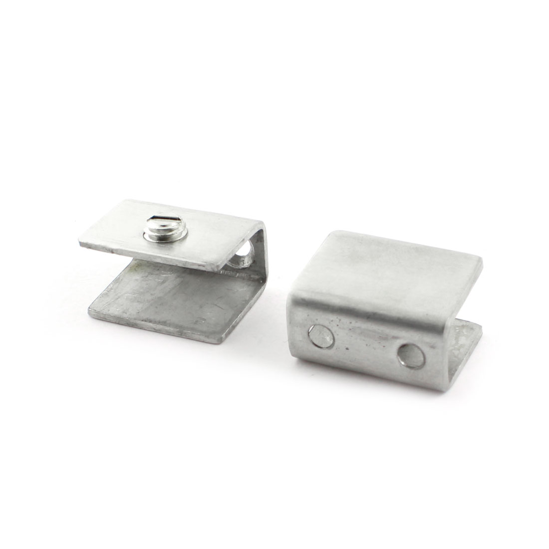 2 Pcs Stainless Steel 12mm Thickness Glass Shelf Clip Clamp