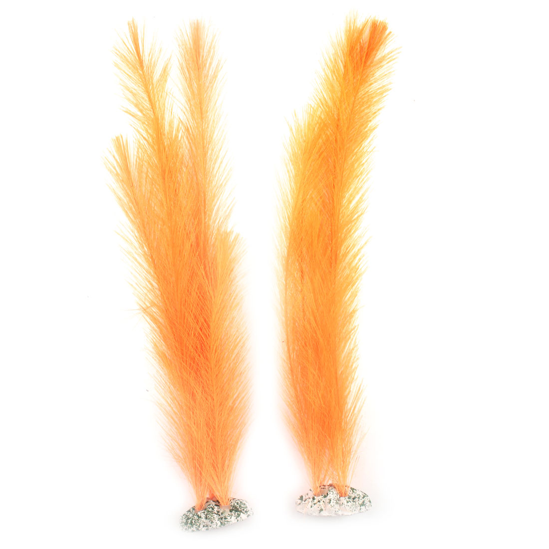Fish Tank Orange Nylon Artificial Water Grass Ornament 38cm Height 2pcs