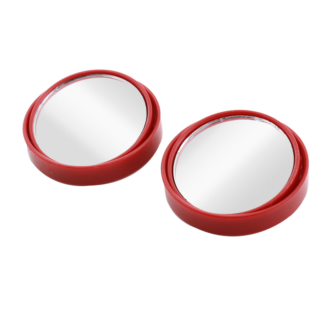 "Car Red Wide Angle Round Convex Rearview Blind Spot Mirror 2"" 2pcs"