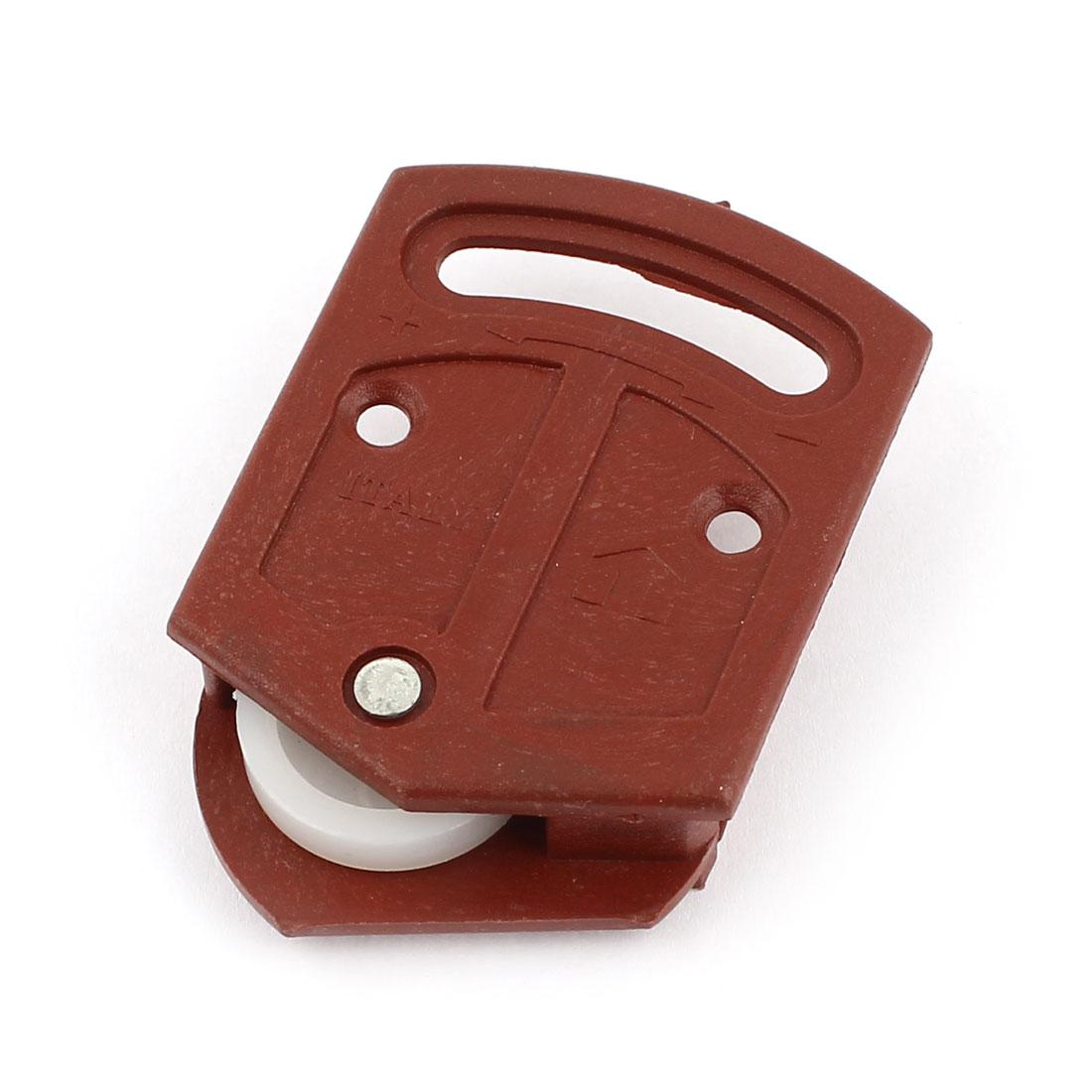 White Wheel Wardrobe Sliding Door Roller Parts 3.6mm Dia Bore Plate