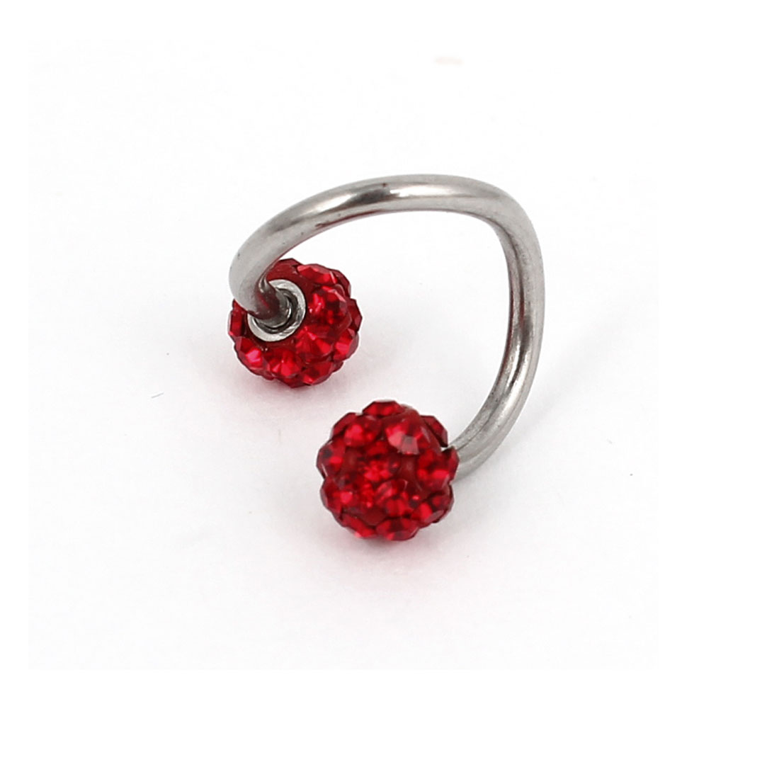 Red Rhinestone Ball Decoration Spiral Twister Belly Eyebrow Ring