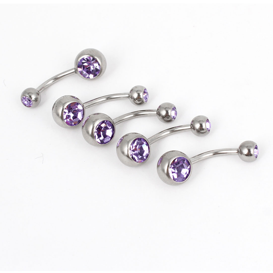5Pcs Rhinestone Accent Stainless Steel Belly Button Navel Ring Body Piercing