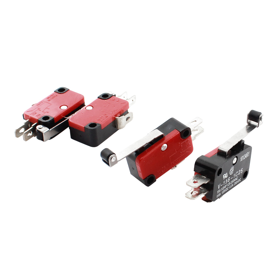 Roller Hinge Lever NO NC Actuator Micro Limit Switch DC 125V 0.6A AC 250V 0.3A 4pcs