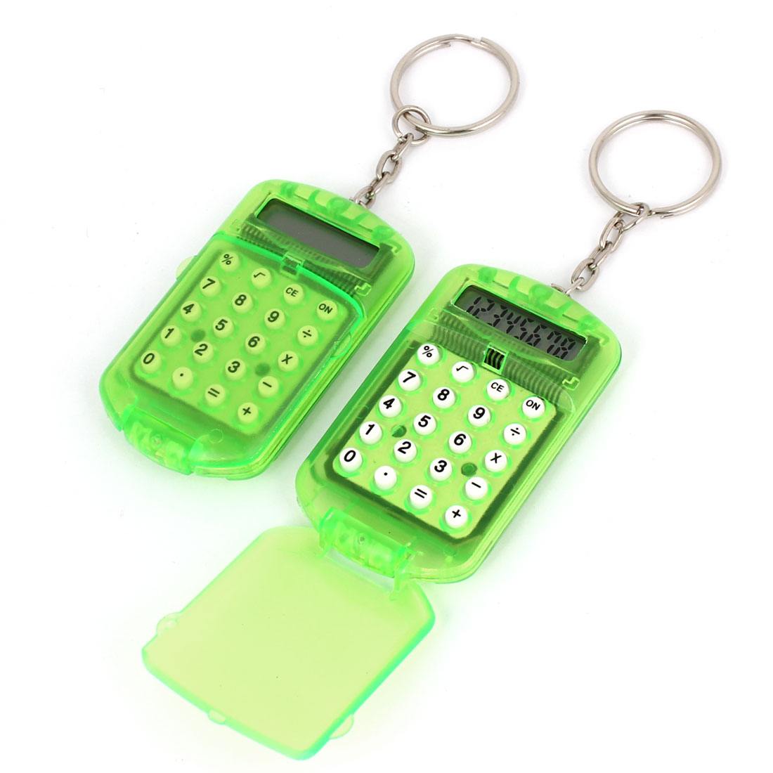 2Pcs Clear Green Plastic 8 Digits Electronic Calculator w Key Ring Chain