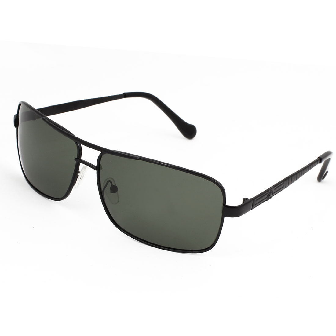 Men Rectangle Shape Double Bridge Full Frame Black Lens Polarized Sunglasses