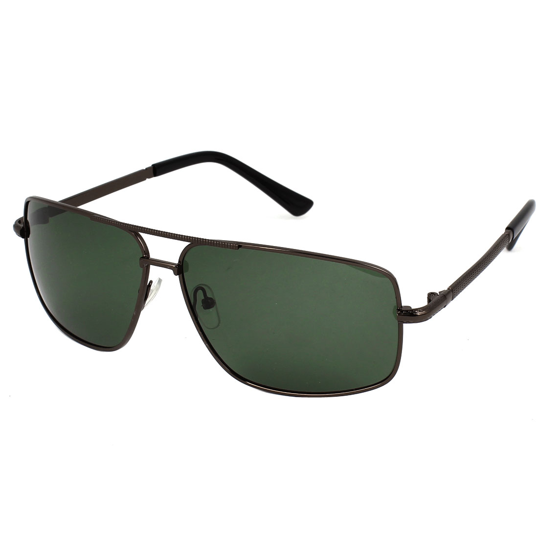 Man Double Bridge Full Frame Rectangular Lens Dark Green Polarized Sunglasses