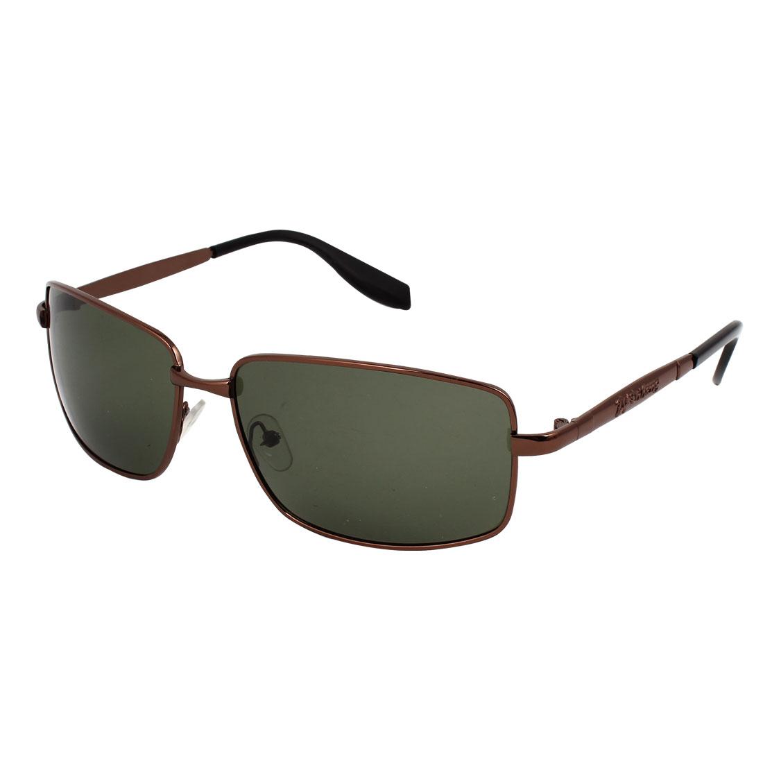 Men Single Bridge Full Frame Rectangular Lens Dark Green Polarized Sunglasses