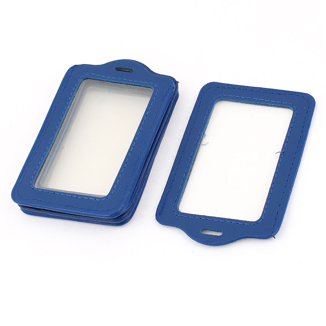 5 Pcs Clear Blue Rectangle Vertical Double Cards Office Card Badge Holder