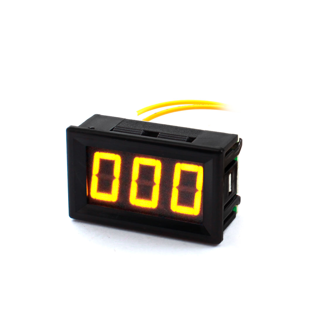 AC12V-380V 19mm Wire Leads Panel Mount 7 Segment Yellow Digits 3-Bits LED Digital Display Voltmeter Voltage Meter