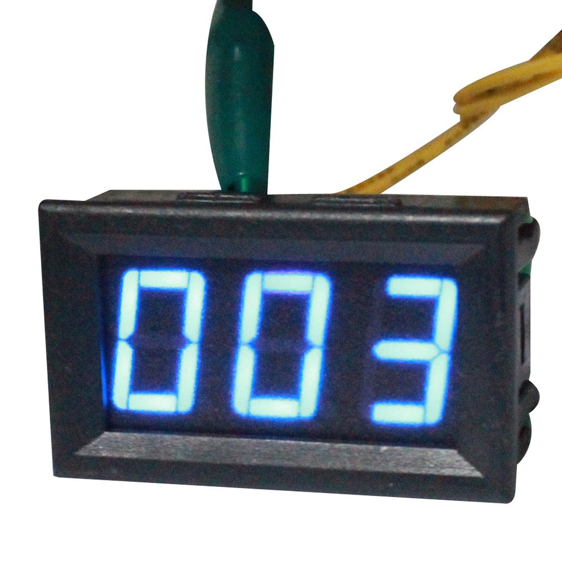 AC12V-380V Wire Leads Blue Digits 3 Position LED Digital Display Panel Gauge Voltmeter Voltage Meter