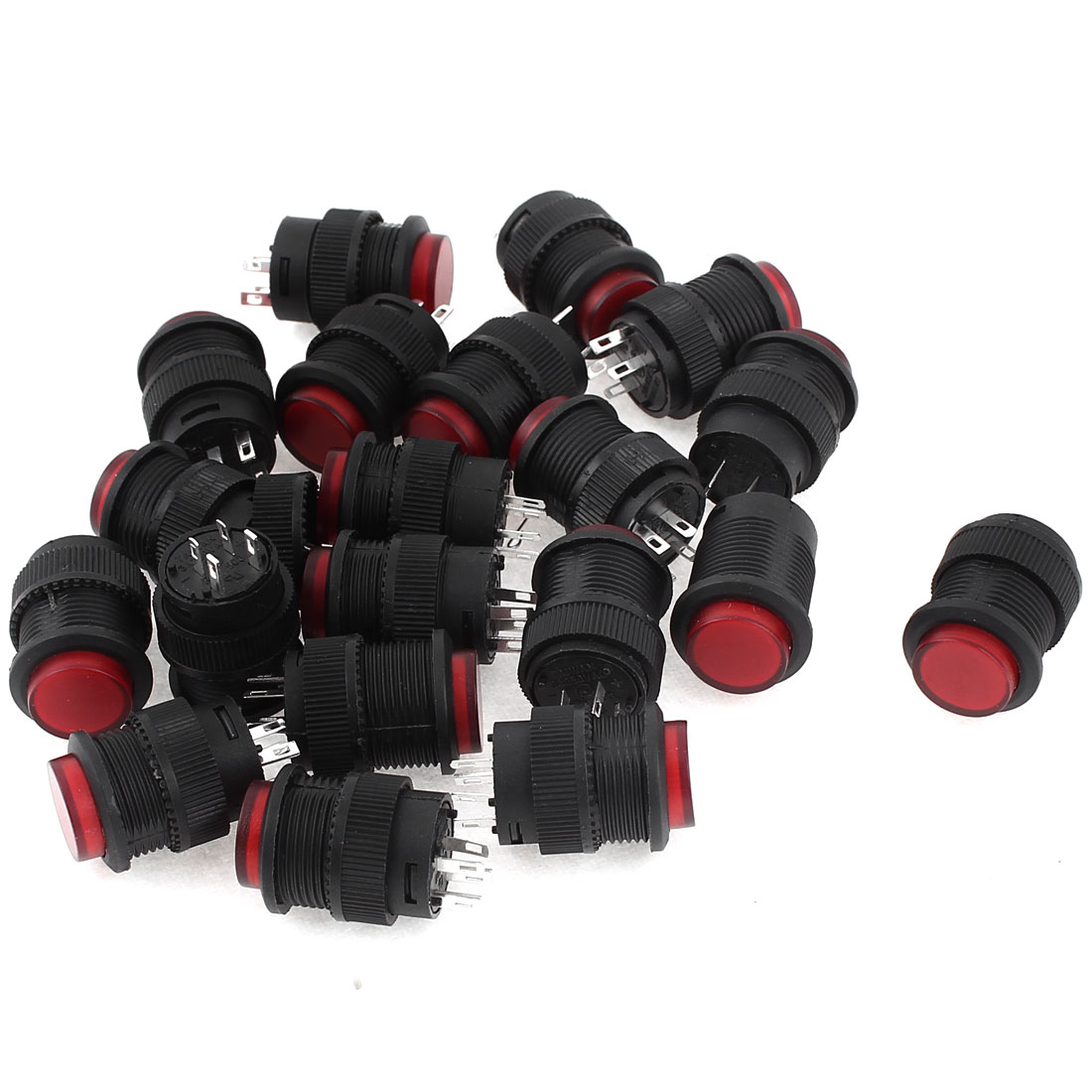 20 Pcs R16-503AD Locking Latching Red Light Off/On Push Button Switch AC 250V 3A