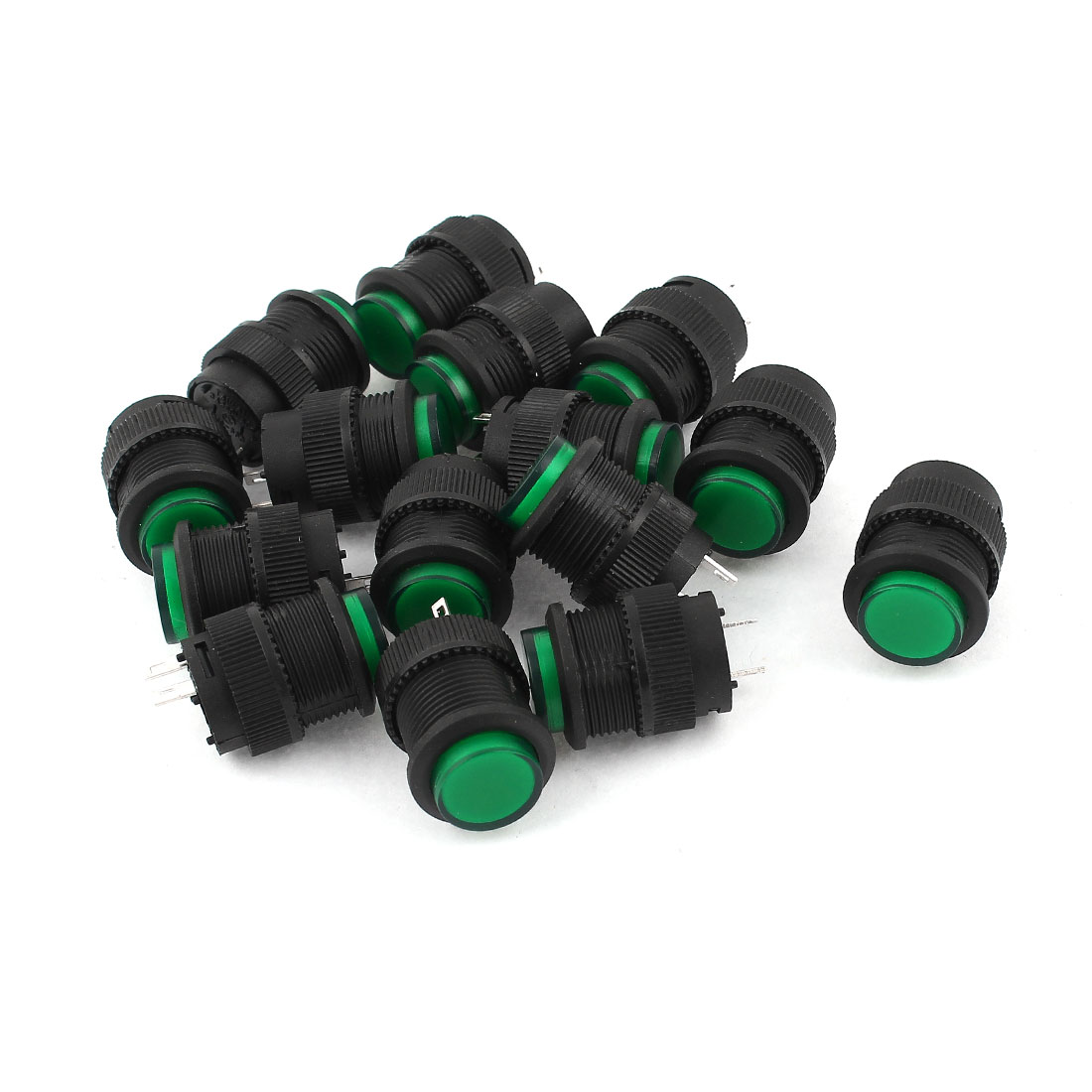 15 Pcs SPST Momentary Green Push Button Power Switch R16-503B AC 250V 3A