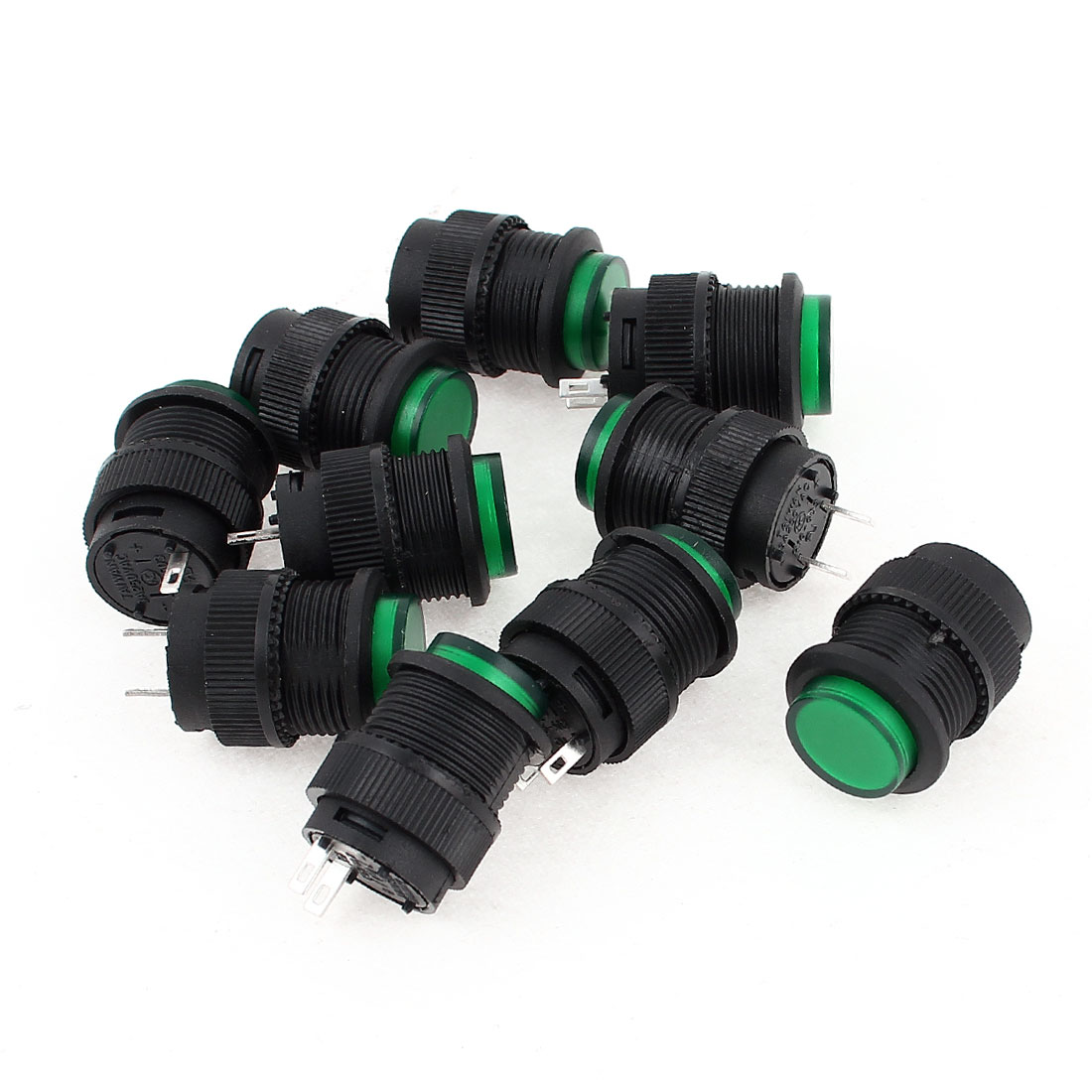 10 Pcs SPST Momentary Green Push Button Power Switch R16-503B AC 250V 3A