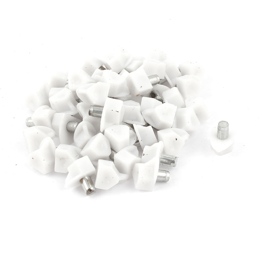 50 Pcs 5mm Metal Pin White Plastic Shelf Glass Support Studs Peg