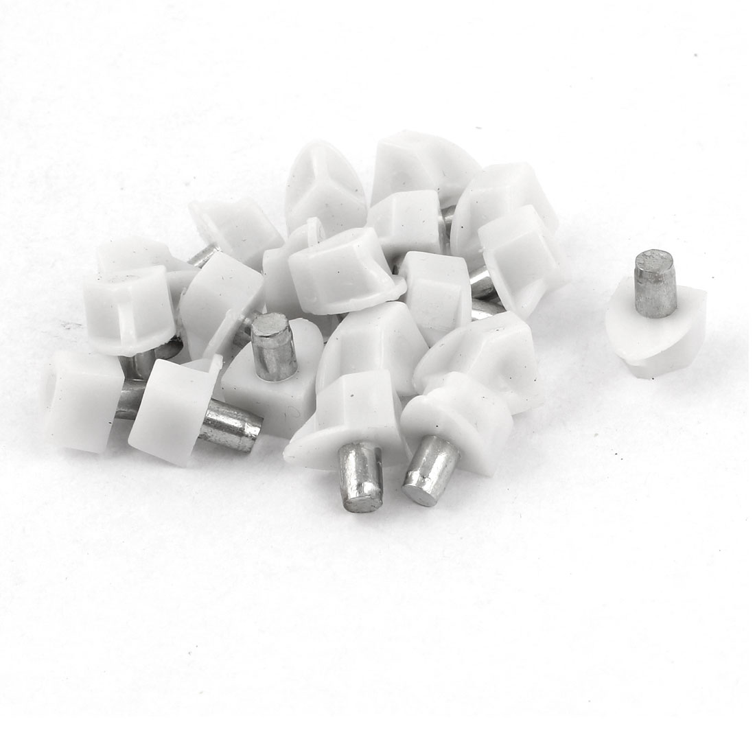 20 Pcs 5mm Metal Pin Plastic Shelf Glass Support Studs Peg White