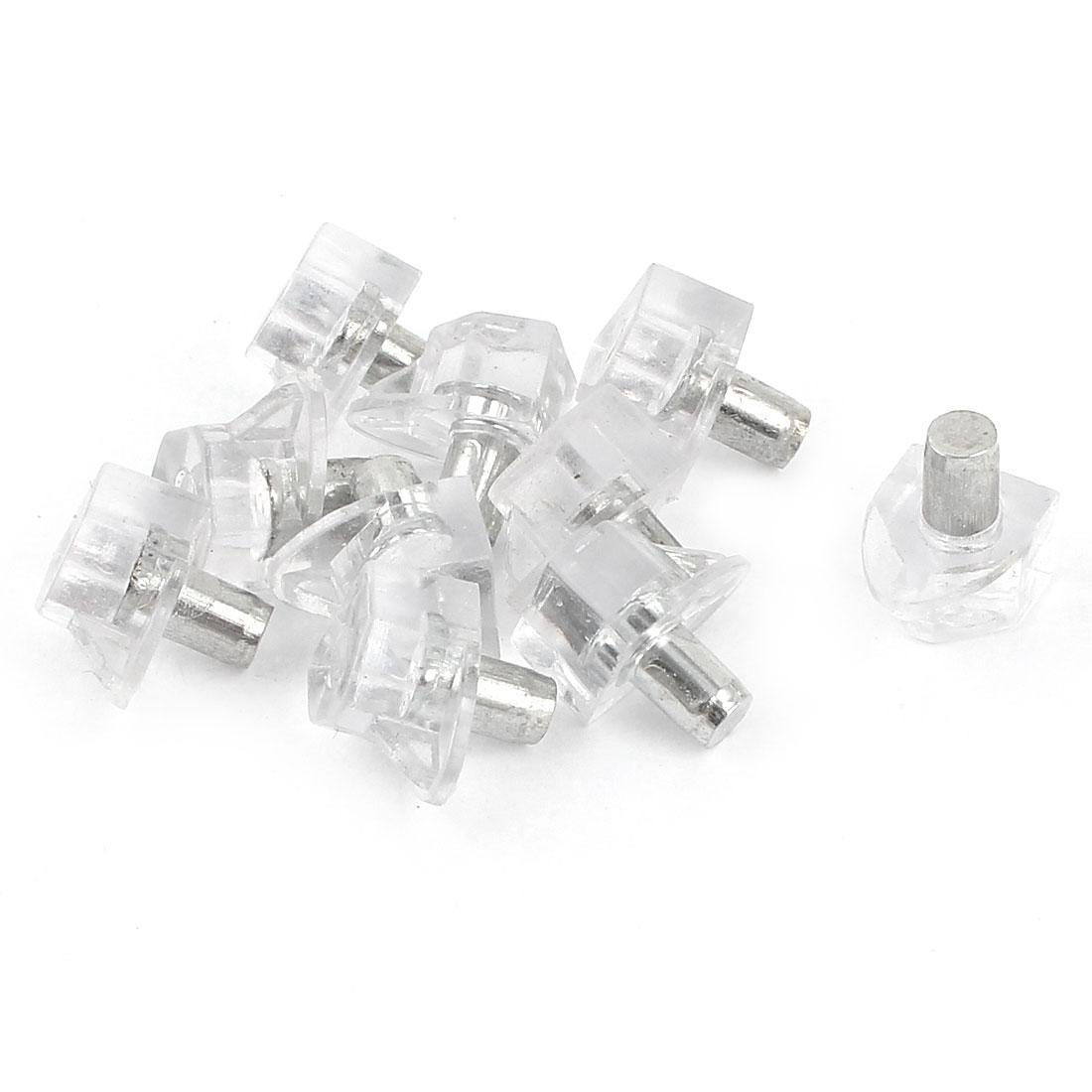 10 Pcs Transparent Shelf Support Holder Pin 5mm for Furniture Cabinet Shelves
