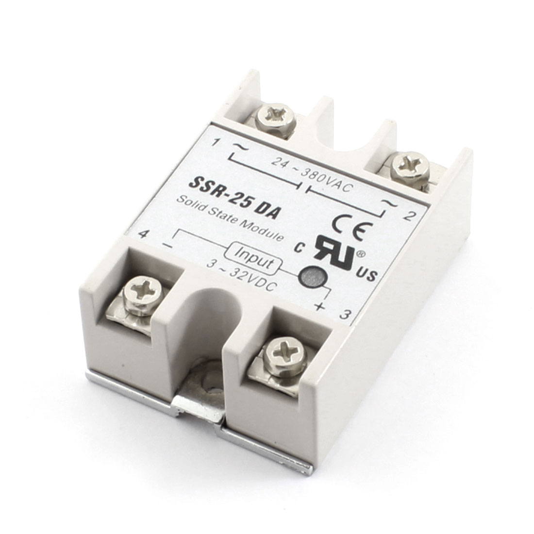 SSR-25DA DC3-32V Input AC24-380V Single Phase 4 Terminals Metal Base Solid State Relay for Temperature Contoller