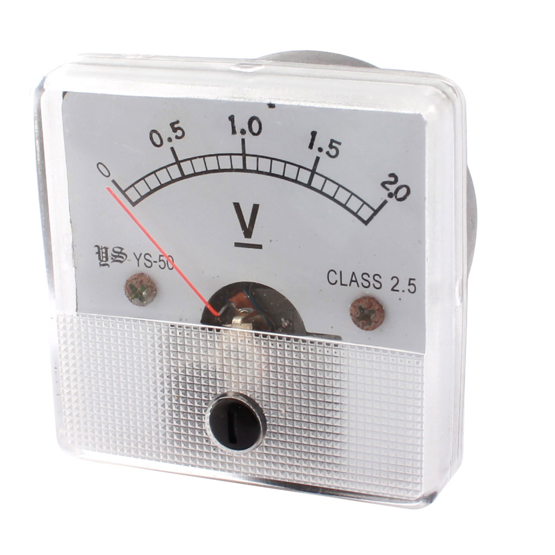DC 0-2.0V Class 2.5 Accuracy Square Plastic Fine Tuning Dial Panel Analog Voltmeter for Testing Work