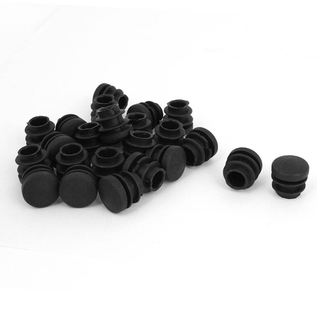 24 Pcs Black Plastic Round 16mm Pipe End Blanking Caps Bung Tube Tubing Insert Plugs