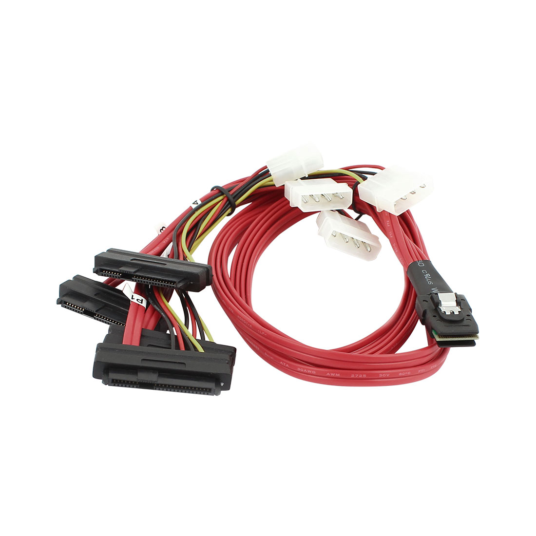 3.3Ft Mini SAS 36Pin Male to SAS 29pin Female + IDE 4pin Male Adapter Cable Red