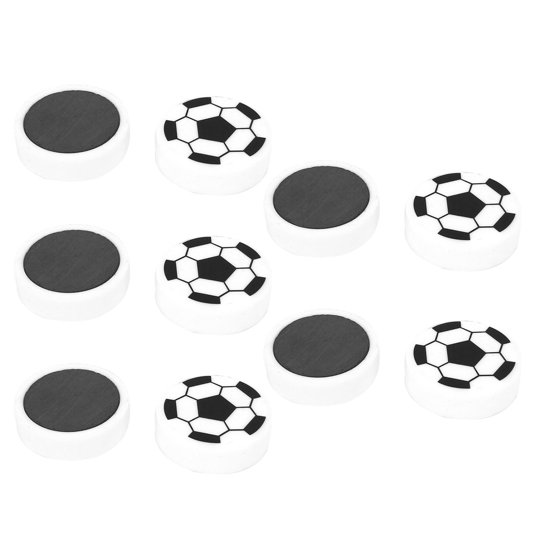 10 Pcs White Black Football Pattern Round Whiteboard Magnetic Sticker