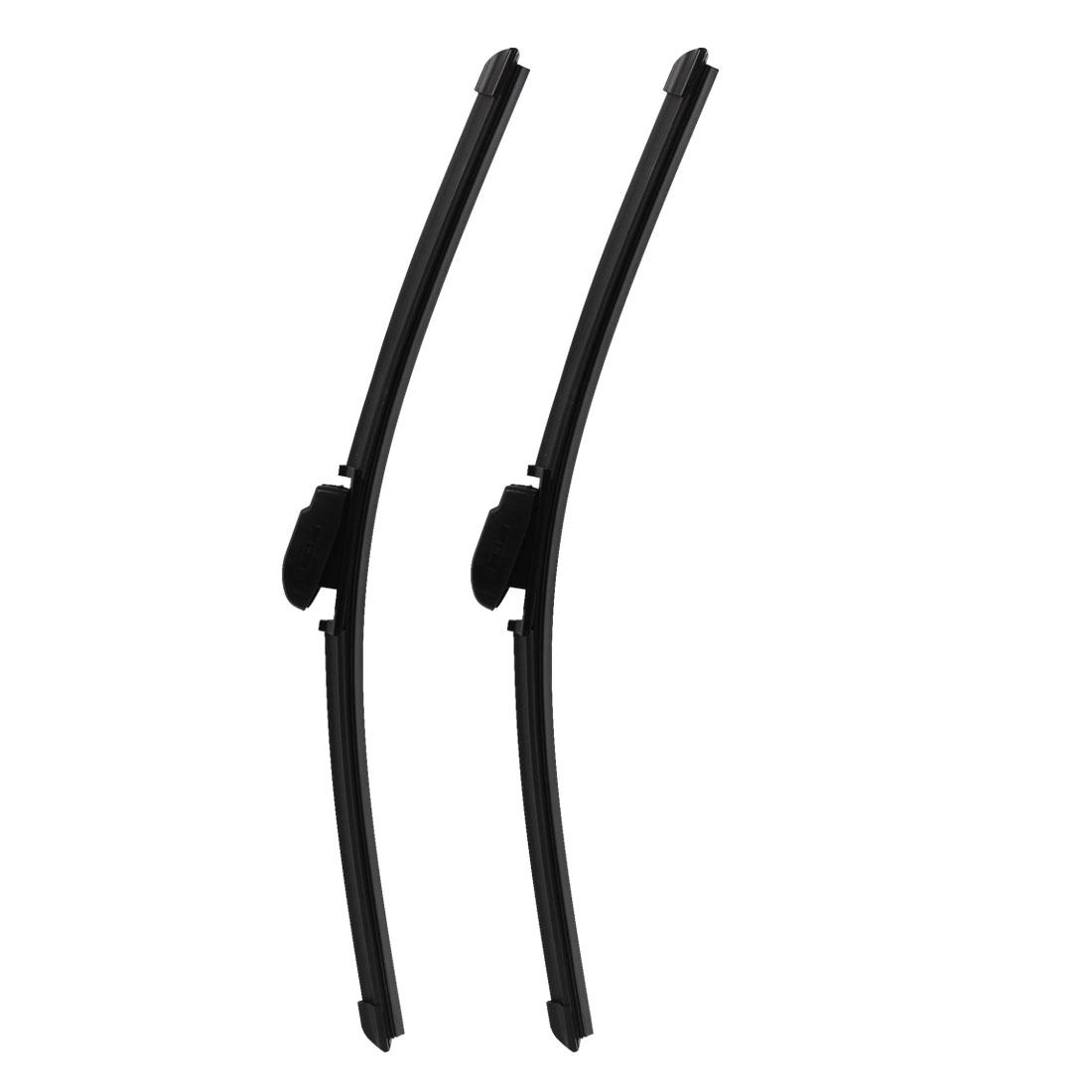 "Multi-Clip 480mm 19"" Long Frameless Windshield Flat Wiper Blade Black 2 Pcs"