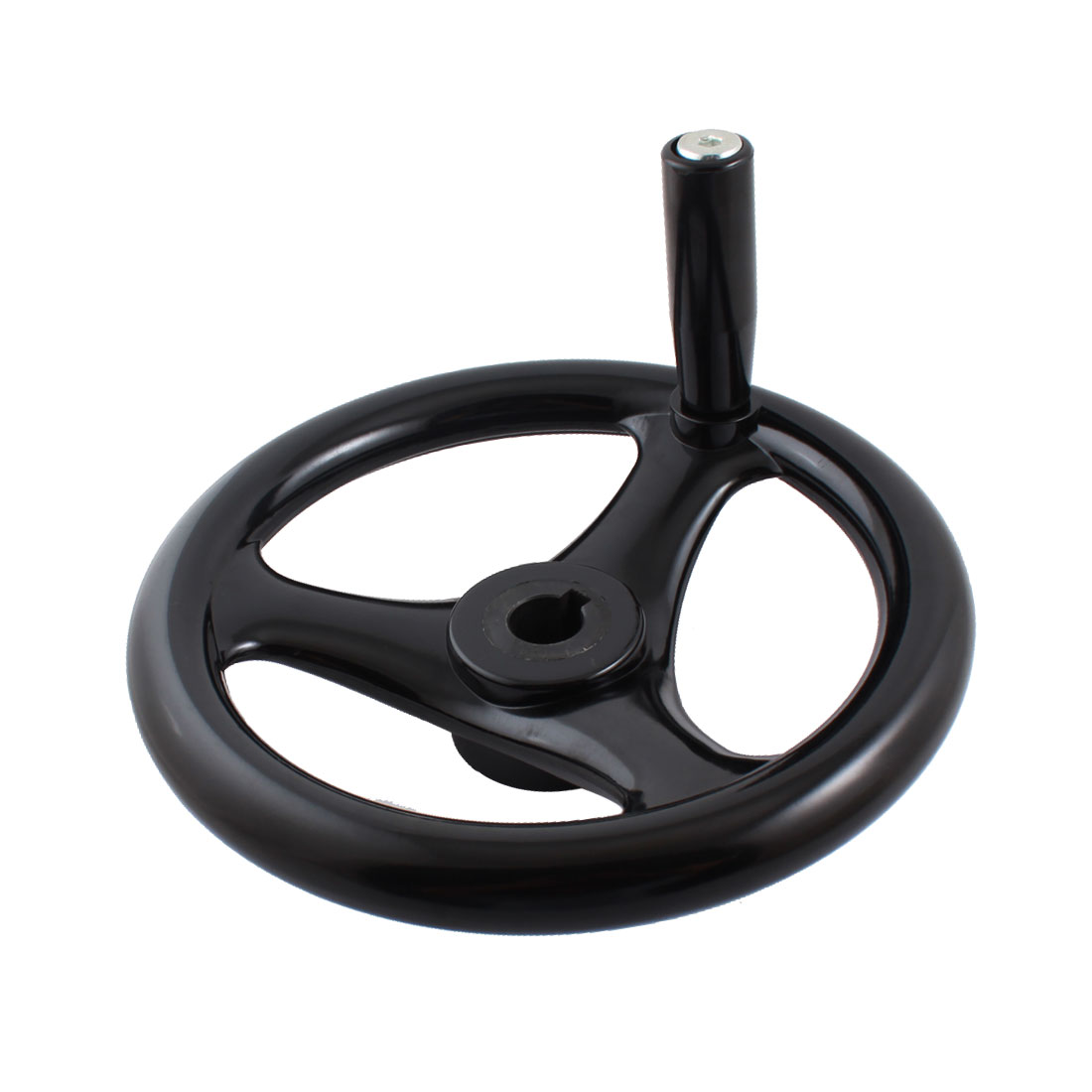 22mm x 250mm Round Black Plastic 3 Spoke Hand Wheel Handwheel w Screw On Handle for Milling Machine