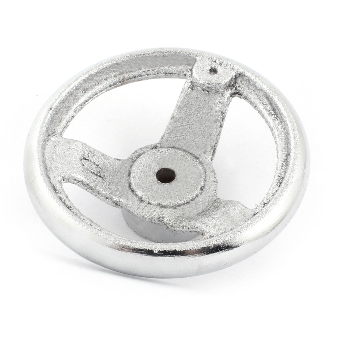 7mm Mounting Hole Three Spoke 100mm Diameter Round Silver Tone Iron Hand Wheel Handwheel for Milling Machine Lathe
