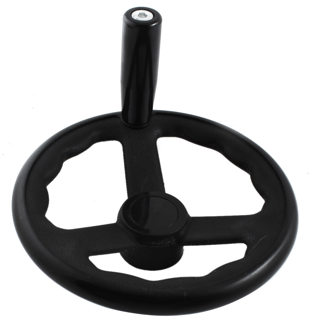 18mmx200mm Round Black Plastic Three Spoke Hand Wheel Handwheel w Removable Handle for Milling Machine
