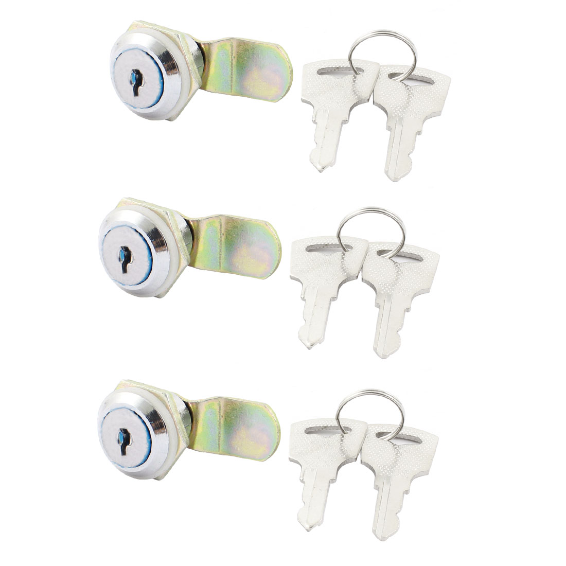 3 Pcs M8 Male Thread Panel Mounting Metal Quarter Turn Drawer Security Cam Lock w 6pcs Keys