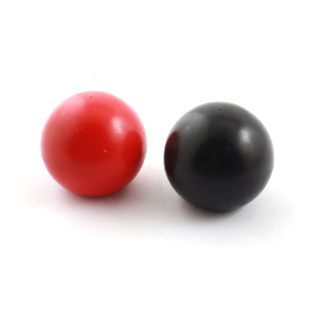 2pcs 32mm Dia Plastic Ball M8 Threaded Blind Hole Handling Knob Black Red