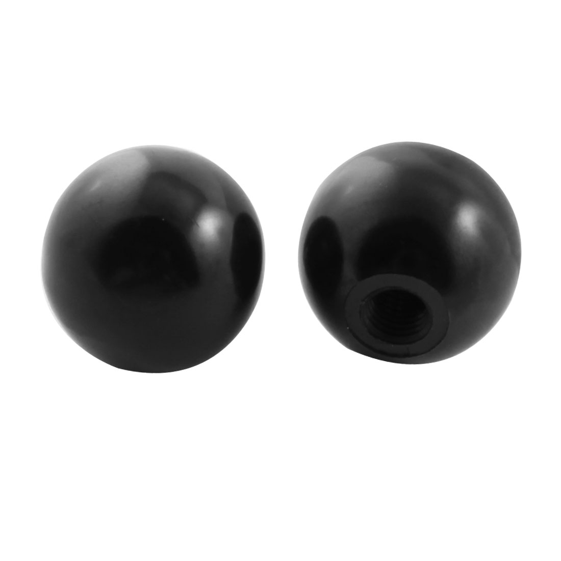 2pcs 35mm Dia Plastic Ball M10 Threaded Blind Hole Handling Knob Black