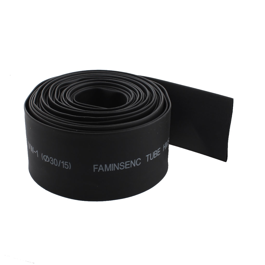 5M 16ft Long 600V 125C 15mm 30mm Shrink Ratio 2/1 Black Polyolefin Heat Heating Shrinkable Tubing Shrink Tube