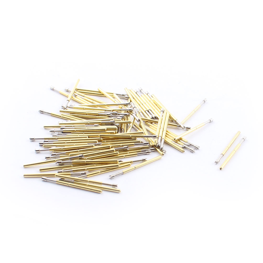 100pcs P160Q2 1.5mm Dia 4-Pointed Crown Tip 24.5mm Length Metal Spring Test Probes Testing Pins Gold Tone for PCB Board Testing